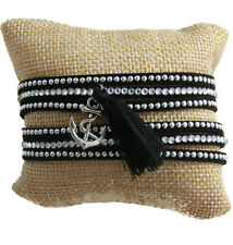 Black Faux Suede Wrap around Bracelet Silver Clear Studs Anchor Charm and Tassel