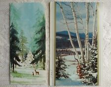 Vintage DEER ❄ SNOW Christmas Greeting Cards🎄Lot of 2, Scenic Ephemera Paper