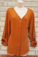 NEW LOOK BROWN TERRACOTTA BUTTONED LONG SLEEVE V NECK BLOUSE T SHIRT TOP 16