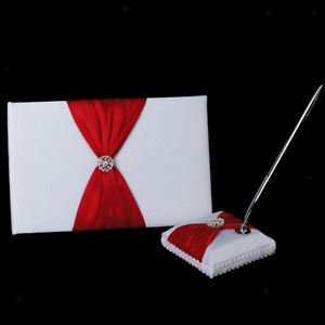 Fashion Wedding Guest Book Pen and Stand Set Red Ribbon & Diamante Decor