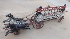 Early IVES CAST IRON 3 HORSE DRAWN FIRE LADDER WAGON Original Vintage large toy