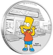 Tuvalu Bart Simpson™ la Simpsons™ 2019 Couleur 1 oz Argent Pp Plaque Polie