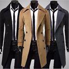 2017 Men's Slim Stylish Trench Coat Winter Long Jacket Double Breasted Overcoat