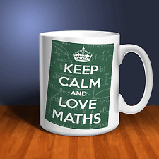Keep Calm and Love Maths Personalised Ceramic Mug. Perfect gift for Teacher