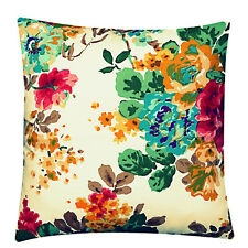 100% Twill Cotton Multi Colour Floral 16 X 16 Cushion Cover Pillow for Sofa Bed