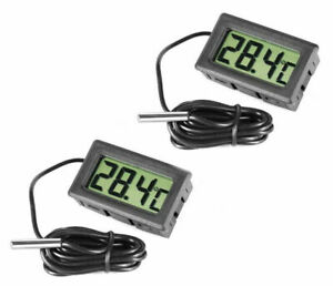 2X DIGITAL AQUARIUM REPTILE VIVARIUM THERMOMETER WITH PROBE FREEZER UK SELLER