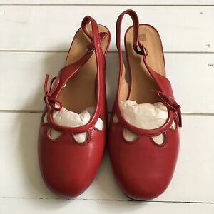 Red Leather Slingback Shoes, Size 5.5/6, Kitten Heel