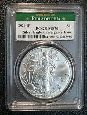 2020 P American Silver Eagle Dollar $1 Emergency Issue Pcgs Ms70 Coin sku c143