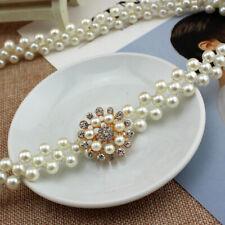 Rhinestone Buckle Pearl Elastic Belt Women Skinny Waist Chain Waistband Dress