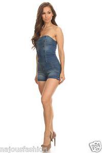 NWT Clash stretch blue denim Jeans shorts Jumpsuit/romper/catsuit strapless