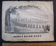 RARE Sheet Music w Litho - Hero's Quick Step NY Guard & Boston Infantry 1836 1st