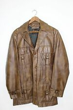 Reed~Men's Size S Small~Leather~Jacket/Coat~Adventurer~Indiana Jones~Safari~Tan