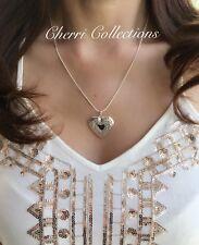 "925 Sterling Silver Heart Locket Necklace, Photo Love Pendant 18"""