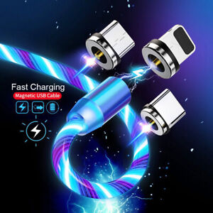 3 in 1 LED Magnetic Fast Charging 2.4A Cable With 3 different adaptors-4 colours