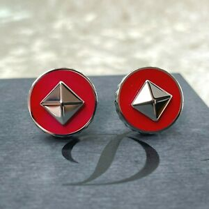 S.T. Dupont Cufflinks Red Lacquer Silver Palladium Diamond Cut Double Sided