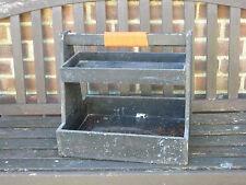 VINTAGE 2 strati di legno Mangiatoia Caddy Vassoio Tool Box Di Stoccaggio Cassa Fioriera da Giardino