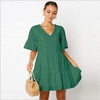 Beach Sundress Summer Holiday Ladies Casual Women Mini Dress Short Sleeve Party