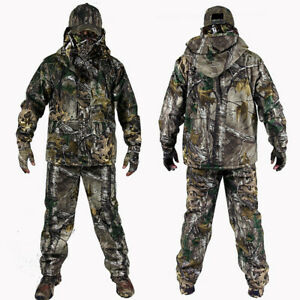 NEW Bionic Camo Fleece Thermal Winter Hunting Ghillie Suit Warm Jacket Pant Set