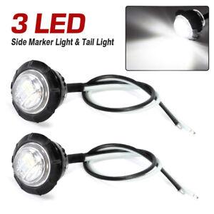 """2x Seitenmarkierung Leuchten Begrenzungsleuchte Weiß LED Rund 3/4"""" Rücklicht"""