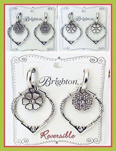 Brighton Natalia Silver Crystal Hoop Reversible Flower Earrings JA3881 NWT $58