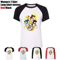 Cute Cartoon Sailor Moon and her friends Women's Girl's T-Shirt Graphic Tee Tops