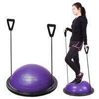 "Balance Exercise Half Ball Trainer 23"" Yoga Gym Workout Equipment w/ Pump Purple"