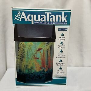 Aqua Tank Aquarium 2 Gallon Seamless Acrylic With Pump & Light Starter Kit