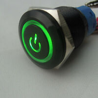 19mm 12V Auto KFZ Schalter Drucktaster Taster Druckschalter LED Beleuchtet Grün
