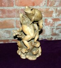 Hand Carved Nature Frog Scene - Beautiful Unique Natural Waru Wood Carving
