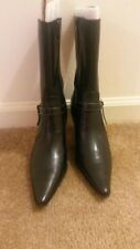 NEW w/out boxWORTHINGTON Black Leather Ankle Bootie Medium Heel Boots Women's 7M