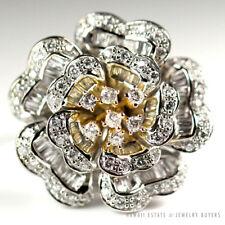 2.55CTW DIAMOND TWO TONE CHRYSANTHEMUM FLOWER 18K WHITE GOLD RING SIZE 6.5