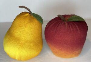 Handmade Fabric Pear & Apple  Primitive Faux Realistic Color Fruit Bowl Fillers