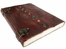 Handmade Paper 10x13 Embossed Leather Journal 7 Stone Chakra Journal Sketchbook