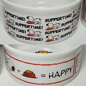 Peanuts Snoopy Pet Dog Food Bowls - Set of 2 - Suppertime & Happy - Ceramic