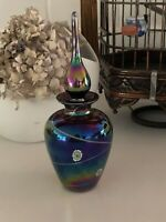 Beautiful Hand crafted  Blown Art Glass perfume bottle New W/Long Stem Stopper