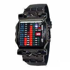 Timeline LED Digital Armbanduhr binär Uhr Kunststoffband für Damen Herren