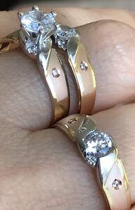 14k solid Ring Trio 3pc Set ManMad Round Diamond Tri Color Gold 7.5 10 456789 11