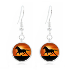 Sunset Horse glass Frea Earrings Art Photo Tibet silver Earring Jewelry #242