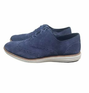 Cole Haan Original Grand ØS Oxford Suede Shoe Men's Size 10 B Navy Blue