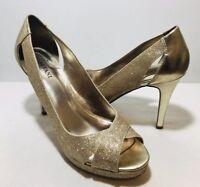 """Alfani Fairfax Pumps Size 7.5M Women's Golden High Heels Open Toe 3"""" High"""