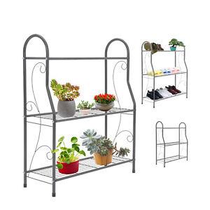 3Tier Metal Ladder Plant Stand Home Outdoor Garden Flower Pot Shelf Display Rack