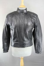 FRANK THOMAS BLACK LEATHER BIKER JACKET WITH REMOVABLE PROTECTORS: SIZE 12