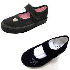 Girls Kids School Pe Pumps Canvas Black Plimsolls Trainers Touch Strap Shoes New