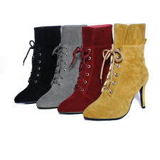 Womens Ankle Strap Boots Stiletto High Heel Ladies Round Toe Lace Up Suede Shoes