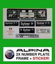 2X BMW ALPINA 3Colors Number Plate Surrounds + Sticker Holder Frame Registration