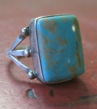 Vintage Navajo Native Sterling Silver Turquoise  Ring Size 9.5 Signed M