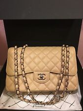 Auth Chanel 2.55 Classic Jumbo Double Flap Bag Caviar Light Beige