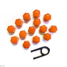17MM Set 20 Naranja Coche Tapas Pernos LLANTAS DE ALEACIÓN Tuercas Cubiertas ABS para PC Plasti Nuevo