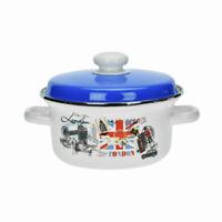 Casserole Émaillée avec Bleu Couvercle 1L Marmite Soupe Ragoût 16cm Blanc&London