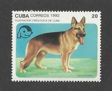 Art Body Portrait Postage Stamp GERMAN SHEPHERD DOG ALSATIAN Caribbean 1992 MNH